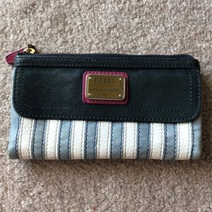Fossil Striped Leather Wallet
